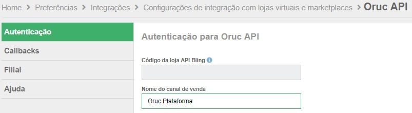 Autenticação Oruc Bling