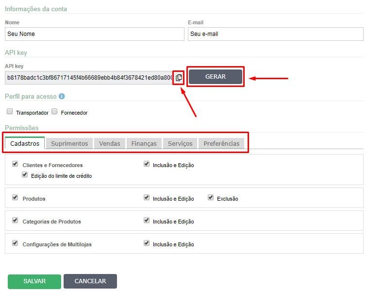 Configurações Usuário API